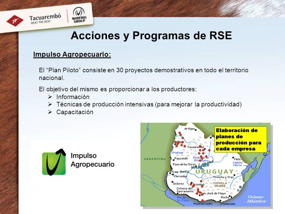Impulso Agropecuario: El Plan Piloto consiste en 30 proyectos demostrativos en todo el territorio nacional. El objetivo del mismo es proporcionar a lo