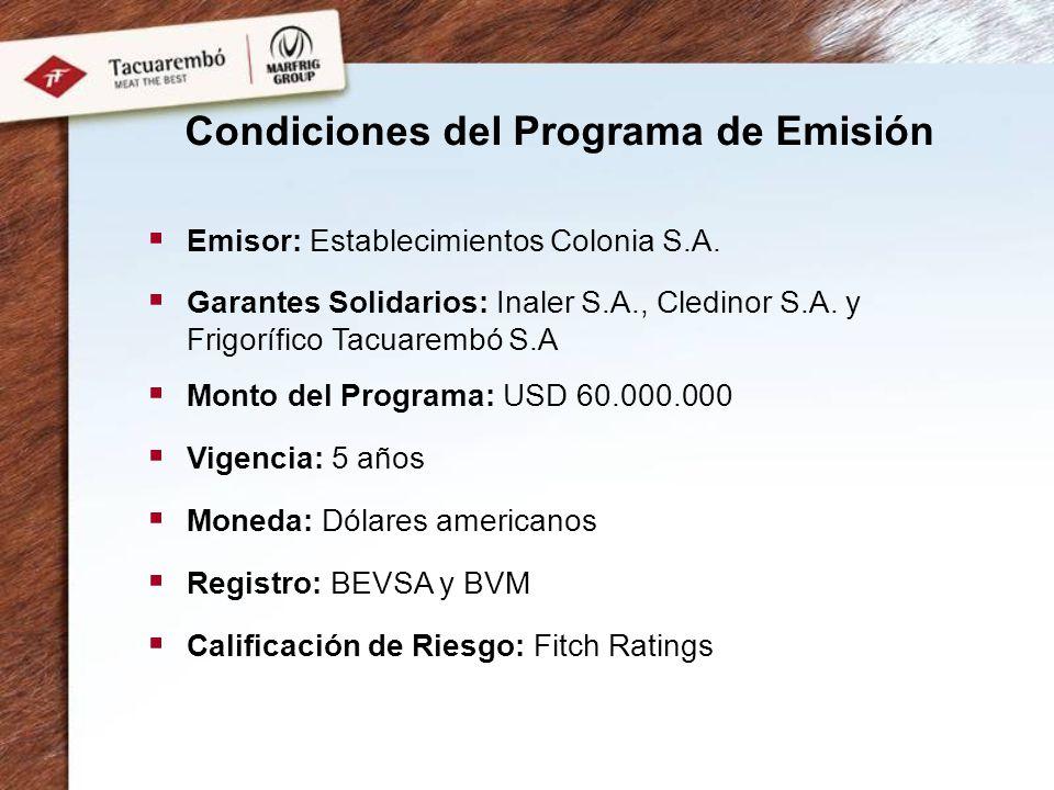 Condiciones del Programa de Emisión Emisor: Establecimientos Colonia S.A. Garantes Solidarios: Inaler S.A., Cledinor S.A. y Frigorífico Tacuarembó S.A