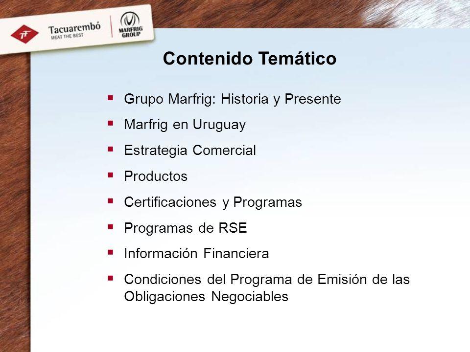 Certificaciones internacionales ISO 9001:2000 Certificación internacional BRC Food Sistema de Trazabilidad (SIRA) Sistema de Autocontrol Sanitario y Productivo (HACCP) Procedimientos Operativos Sanitarios Normalizados (SSOP) Reglamentación sobre Buenas Prácticas de Elaboración de Alimentos (GMP) Programa de Bienestar Animal Programa de Carne Orgánica Certificada Programa de Carne Natural Certificada Certificación SEDEX Responsabilidad Social ColoniaTacuarembóSaltoSan Jose Fray Bentos Mc Donalds ** BRC (British Retail Consortium) ***** ISO9001:2000 ** Certified Organic Beef (USDA/EU) *** Certificaciones y Programas