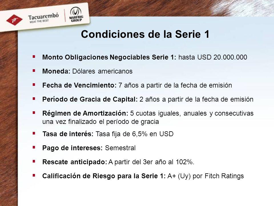 Condiciones de la Serie 1 Monto Obligaciones Negociables Serie 1: hasta USD 20.000.000 Moneda: Dólares americanos Fecha de Vencimiento: 7 años a parti