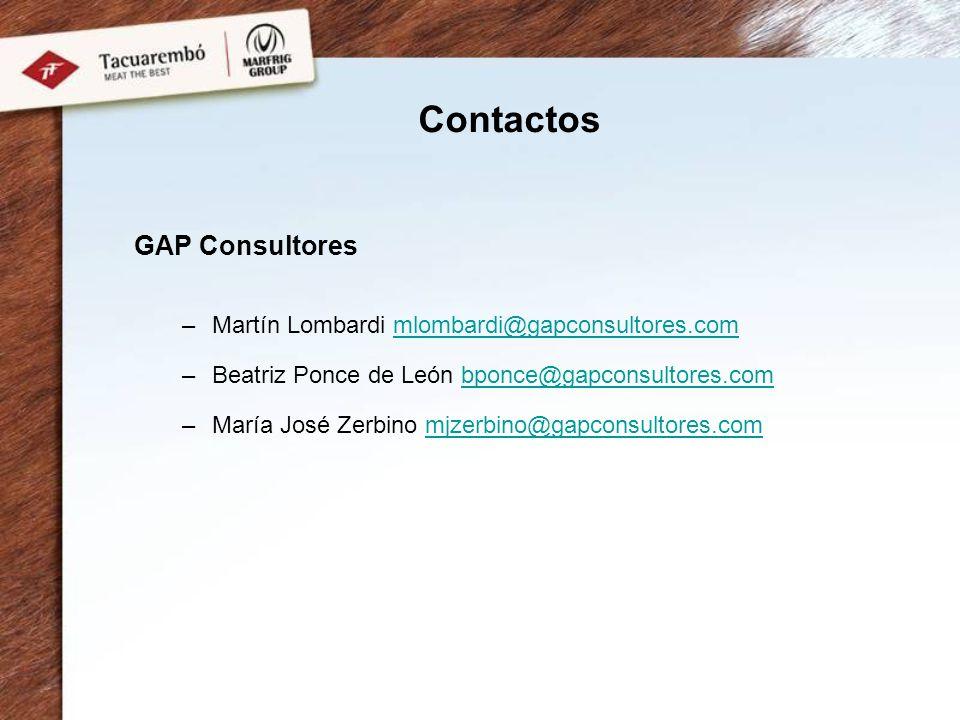Contactos GAP Consultores –Martín Lombardi mlombardi@gapconsultores.commlombardi@gapconsultores.com –Beatriz Ponce de León bponce@gapconsultores.combp