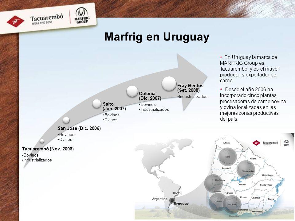 Marfrig en Uruguay Tacuarembó (Nov. 2006) Bovinos Industrializados San José (Dic. 2006) Bovinos Ovinos Salto (Jun. 2007) Bovinos Ovinos Colonia (Dic.