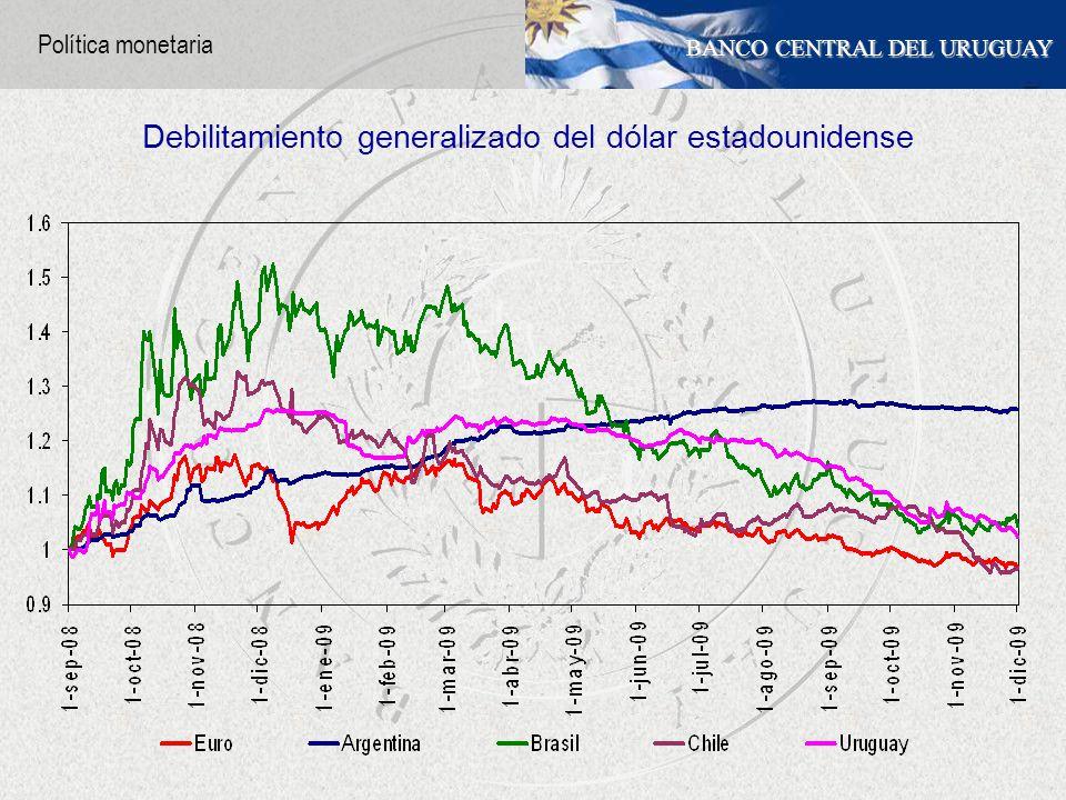 BANCO CENTRAL DEL URUGUAY Debilitamiento generalizado del dólar estadounidense Política monetaria