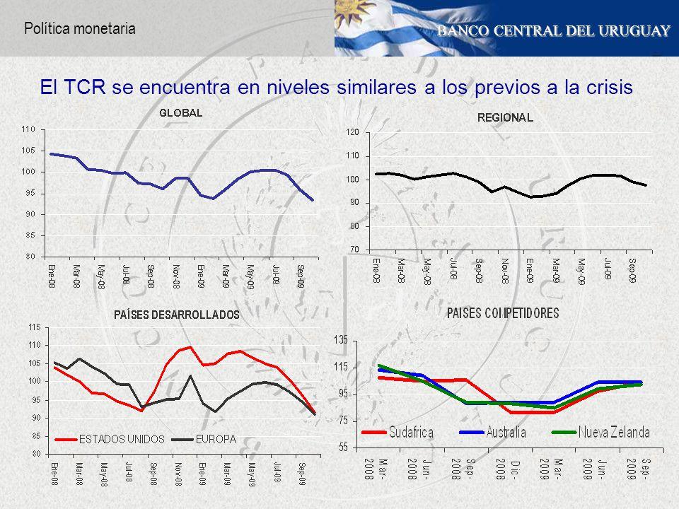 BANCO CENTRAL DEL URUGUAY El TCR se encuentra en niveles similares a los previos a la crisis Política monetaria