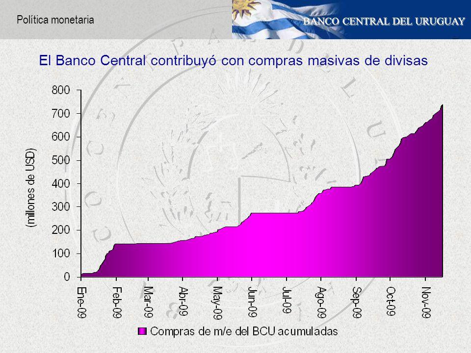 BANCO CENTRAL DEL URUGUAY El Banco Central contribuyó con compras masivas de divisas Política monetaria