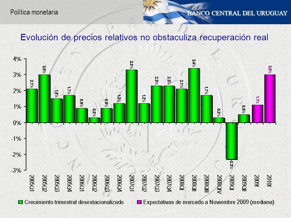 BANCO CENTRAL DEL URUGUAY Evolución de precios relativos no obstaculiza recuperación real Política monetaria