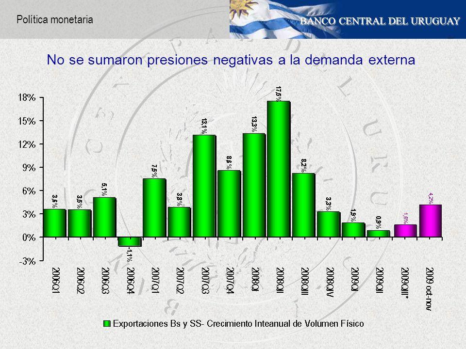 BANCO CENTRAL DEL URUGUAY No se sumaron presiones negativas a la demanda externa Política monetaria