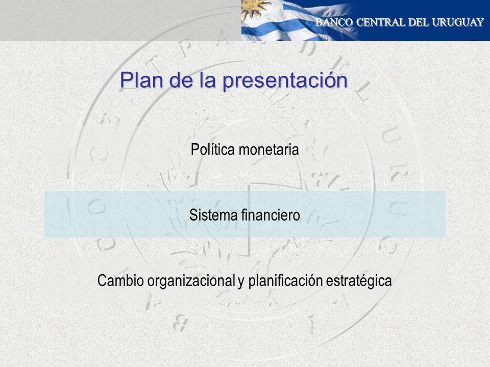 BANCO CENTRAL DEL URUGUAY Política monetaria Cambio organizacional y planificación estratégica Sistema financiero Plan de la presentación