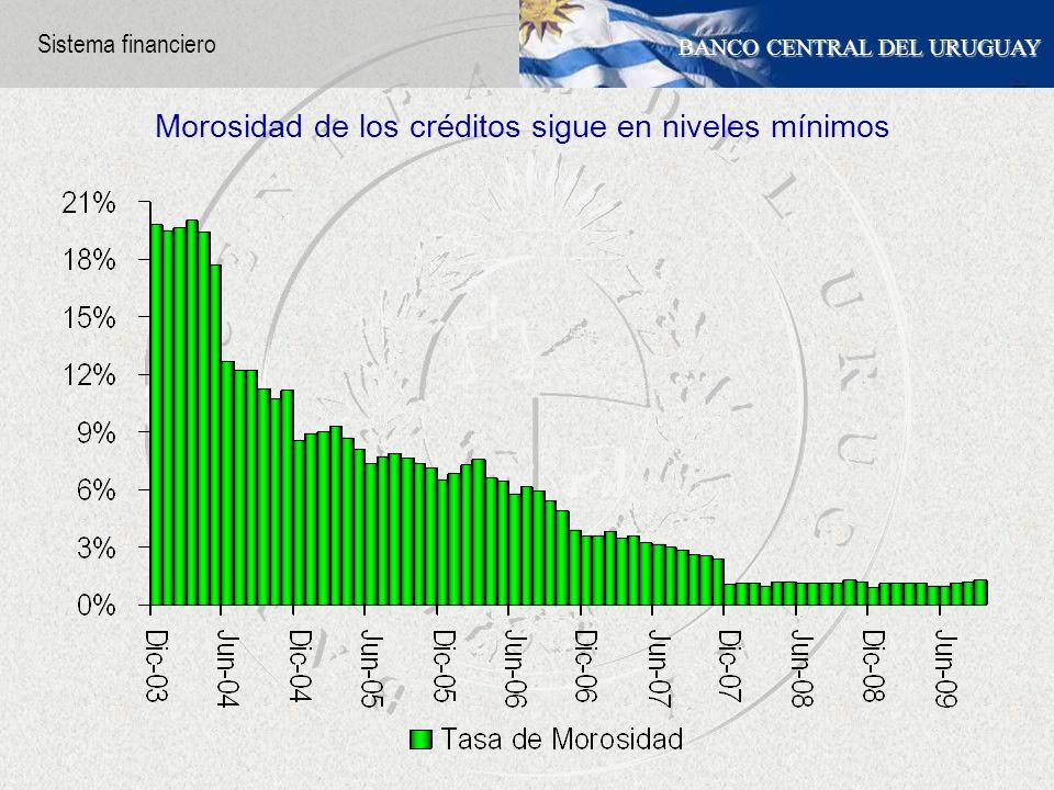 BANCO CENTRAL DEL URUGUAY Morosidad de los créditos sigue en niveles mínimos Sistema financiero