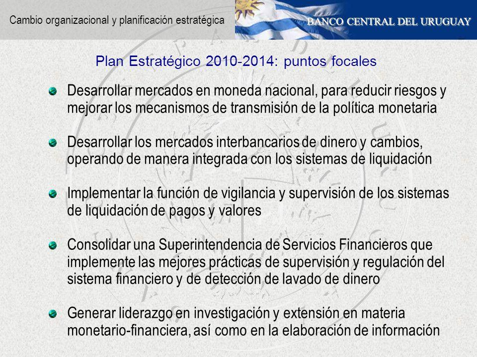 BANCO CENTRAL DEL URUGUAY Desarrollar mercados en moneda nacional, para reducir riesgos y mejorar los mecanismos de transmisión de la política monetar