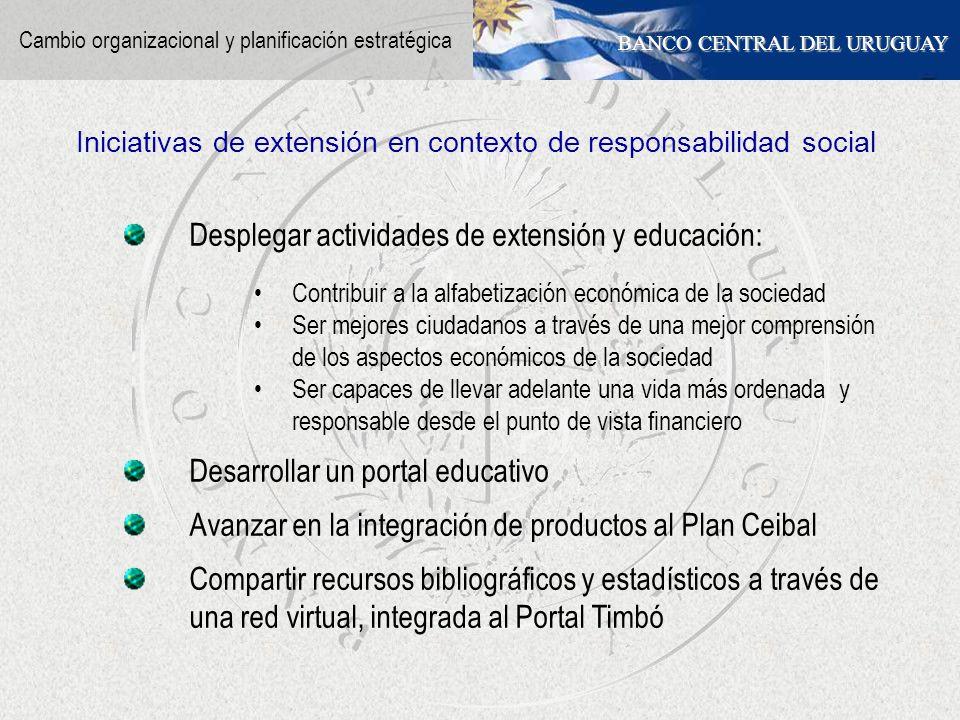 BANCO CENTRAL DEL URUGUAY Desplegar actividades de extensión y educación: Contribuir a la alfabetización económica de la sociedad Ser mejores ciudadan