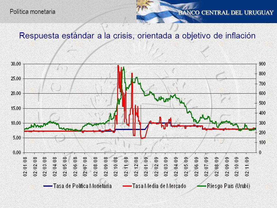 BANCO CENTRAL DEL URUGUAY Política monetaria Respuesta estándar a la crisis, orientada a objetivo de inflación