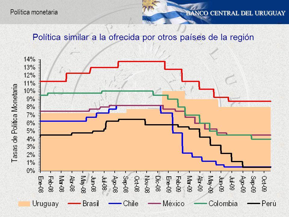 BANCO CENTRAL DEL URUGUAY Política similar a la ofrecida por otros países de la región Política monetaria
