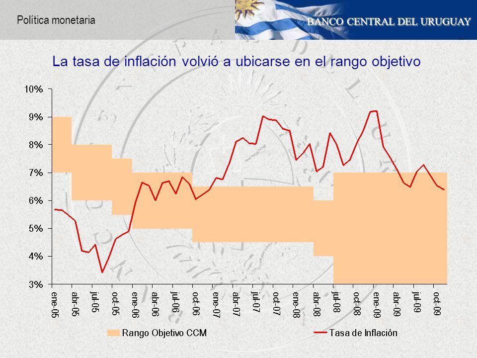 BANCO CENTRAL DEL URUGUAY La tasa de inflación volvió a ubicarse en el rango objetivo Política monetaria