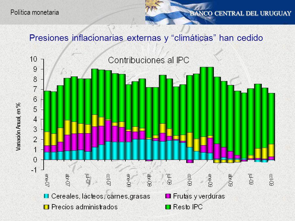 BANCO CENTRAL DEL URUGUAY Presiones inflacionarias externas y climáticas han cedido Política monetaria