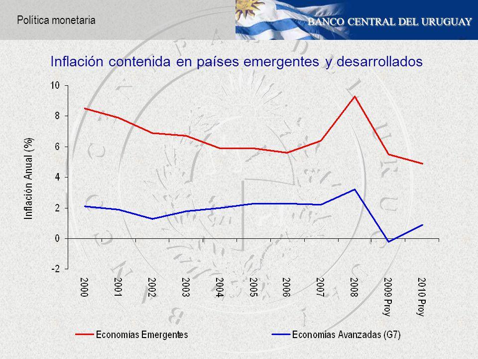 BANCO CENTRAL DEL URUGUAY Inflación contenida en países emergentes y desarrollados Política monetaria
