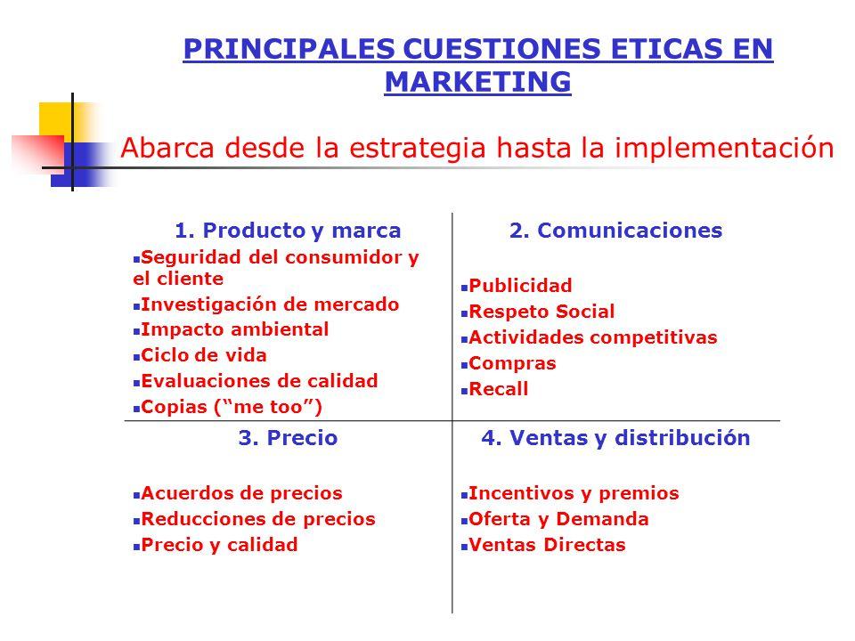 PRINCIPALES CUESTIONES ETICAS EN MARKETING Abarca desde la estrategia hasta la implementación 1. Producto y marca Seguridad del consumidor y el client
