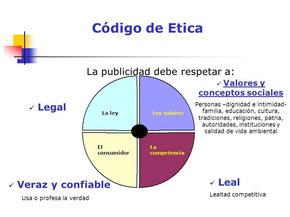Código de Etica La publicidad debe respetar a: Los valores La competencia La ley El consumidor Legal Veraz y confiable Usa o profesa la verdad Leal Le