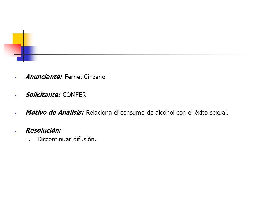 Anunciante: Fernet Cinzano Solicitante: COMFER Motivo de Análisis: Relaciona el consumo de alcohol con el éxito sexual. Resolución: Discontinuar difus
