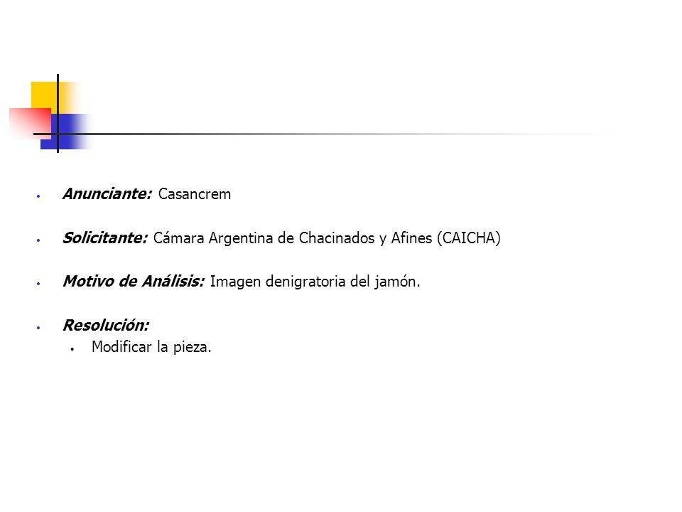 Anunciante: Casancrem Solicitante: Cámara Argentina de Chacinados y Afines (CAICHA) Motivo de Análisis: Imagen denigratoria del jamón. Resolución: Mod