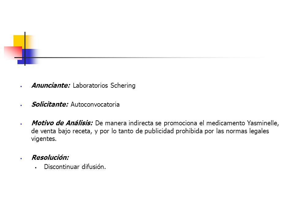 Anunciante: Laboratorios Schering Solicitante: Autoconvocatoria Motivo de Análisis: De manera indirecta se promociona el medicamento Yasminelle, de ve