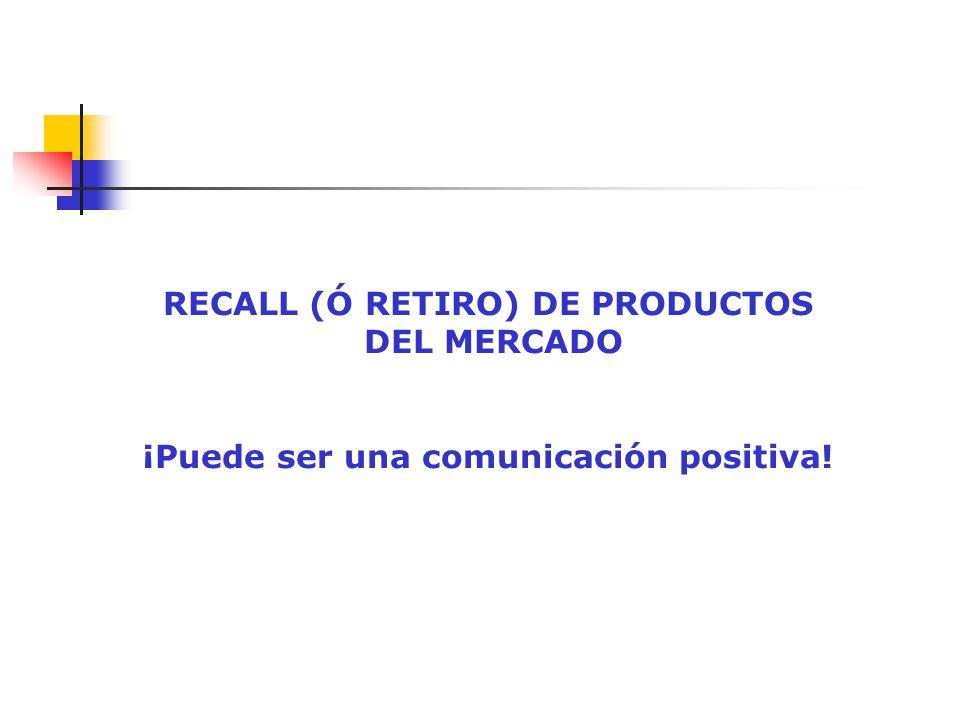 RECALL (Ó RETIRO) DE PRODUCTOS DEL MERCADO ¡Puede ser una comunicación positiva!