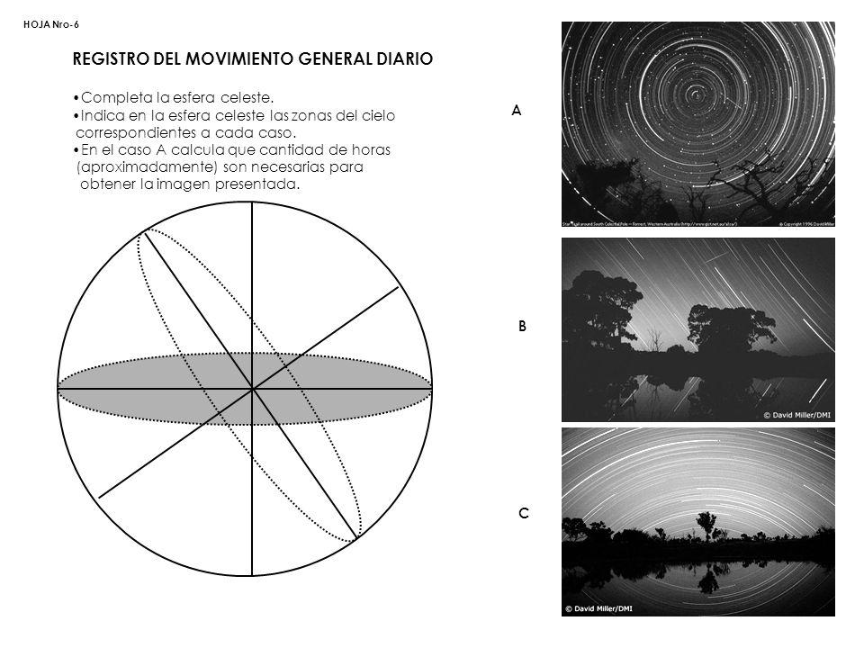 REGISTRO DEL MOVIMIENTO GENERAL DIARIO Completa la esfera celeste. Indica en la esfera celeste las zonas del cielo correspondientes a cada caso. En el