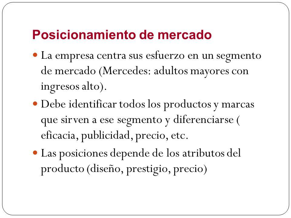 Posicionamiento de mercado La empresa centra sus esfuerzo en un segmento de mercado (Mercedes: adultos mayores con ingresos alto). Debe identificar to