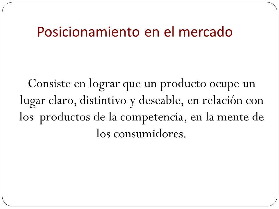 Posicionamiento en el mercado Consiste en lograr que un producto ocupe un lugar claro, distintivo y deseable, en relación con los productos de la comp