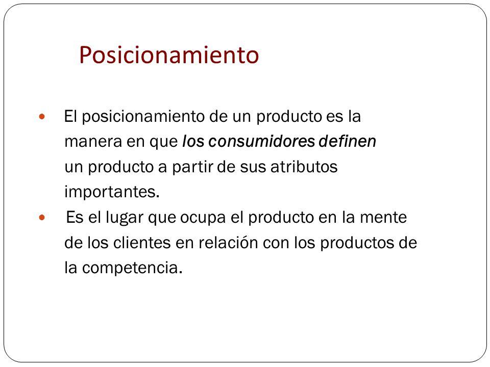 Posicionamiento El posicionamiento de un producto es la manera en que los consumidores definen un producto a partir de sus atributos importantes. Es e