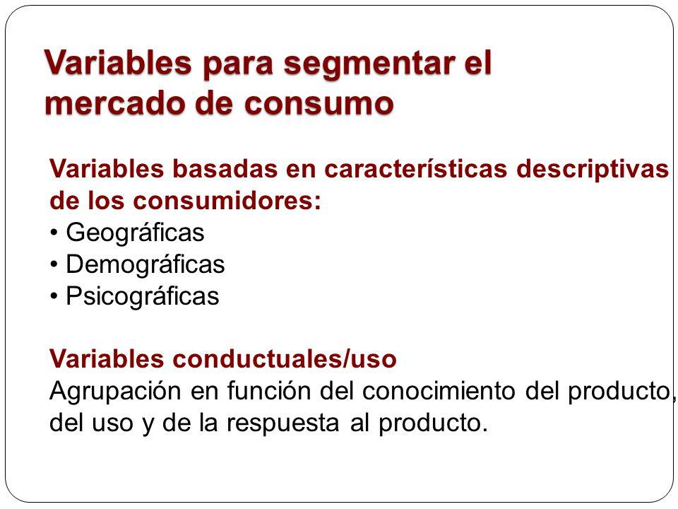 Variables para segmentar el mercado de consumo Variables basadas en características descriptivas de los consumidores: Geográficas Demográficas Psicogr