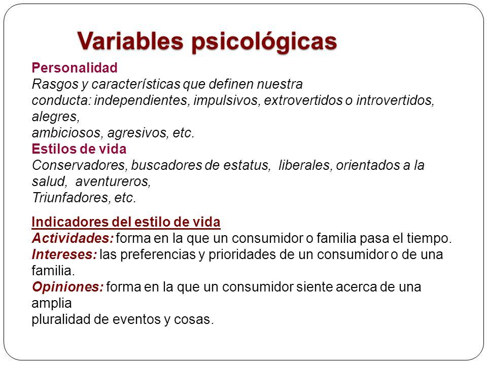 Variables psicológicas Personalidad Rasgos y características que definen nuestra conducta: independientes, impulsivos, extrovertidos o introvertidos,