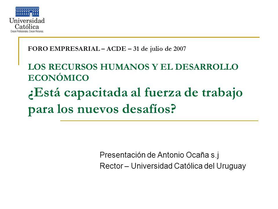 FORO EMPRESARIAL – ACDE – 31 de julio de 2007 LOS RECURSOS HUMANOS Y EL DESARROLLO ECONÓMICO ¿Está capacitada al fuerza de trabajo para los nuevos desafíos.