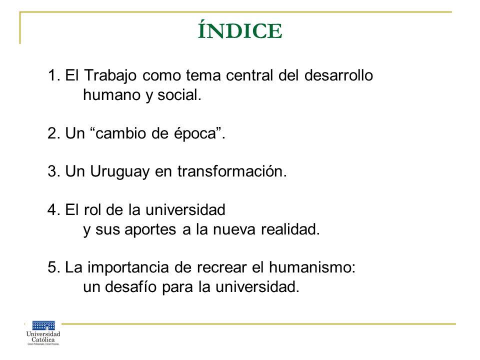ÍNDICE 1. El Trabajo como tema central del desarrollo humano y social.
