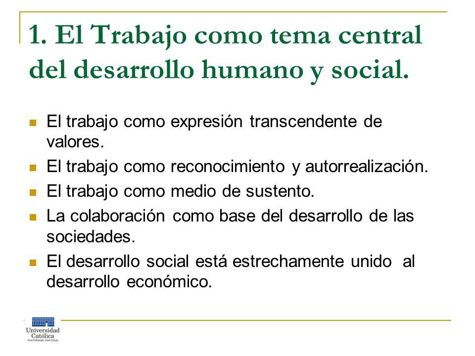 1. El Trabajo como tema central del desarrollo humano y social.