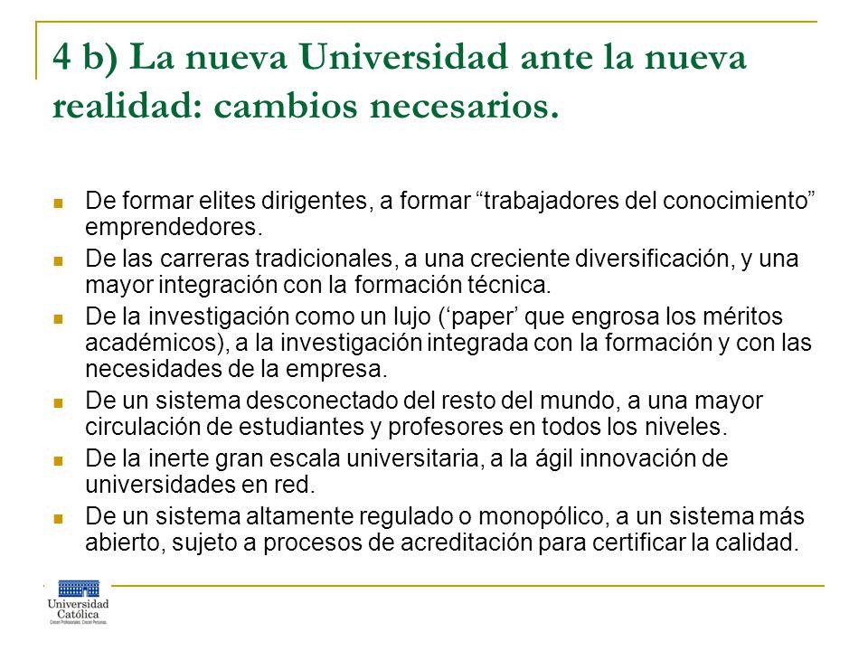 4 b) La nueva Universidad ante la nueva realidad: cambios necesarios.