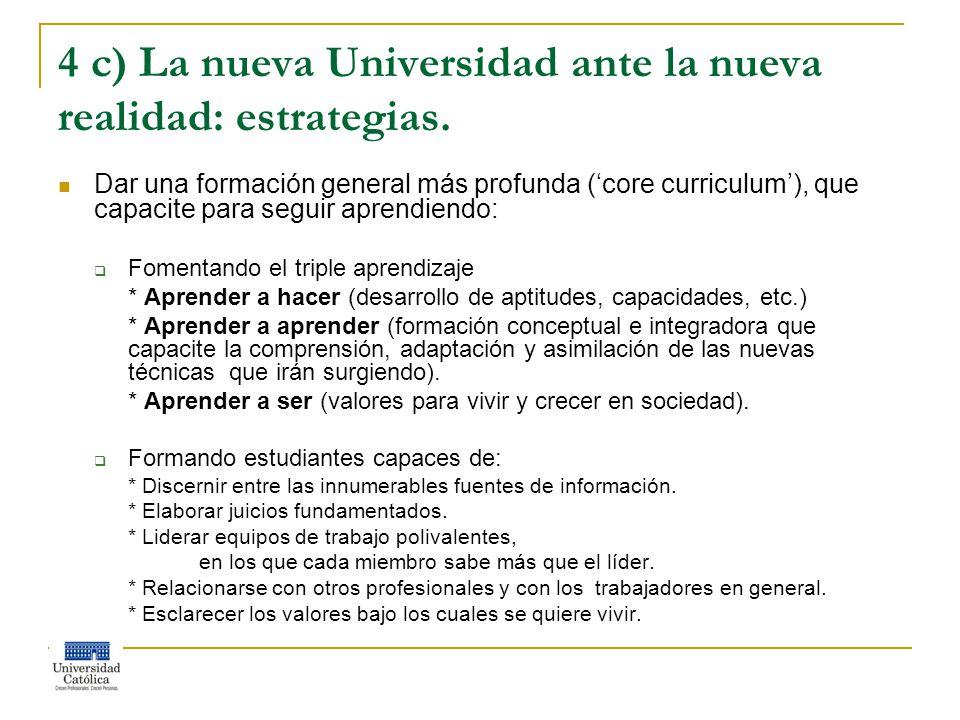 4 c) La nueva Universidad ante la nueva realidad: estrategias.