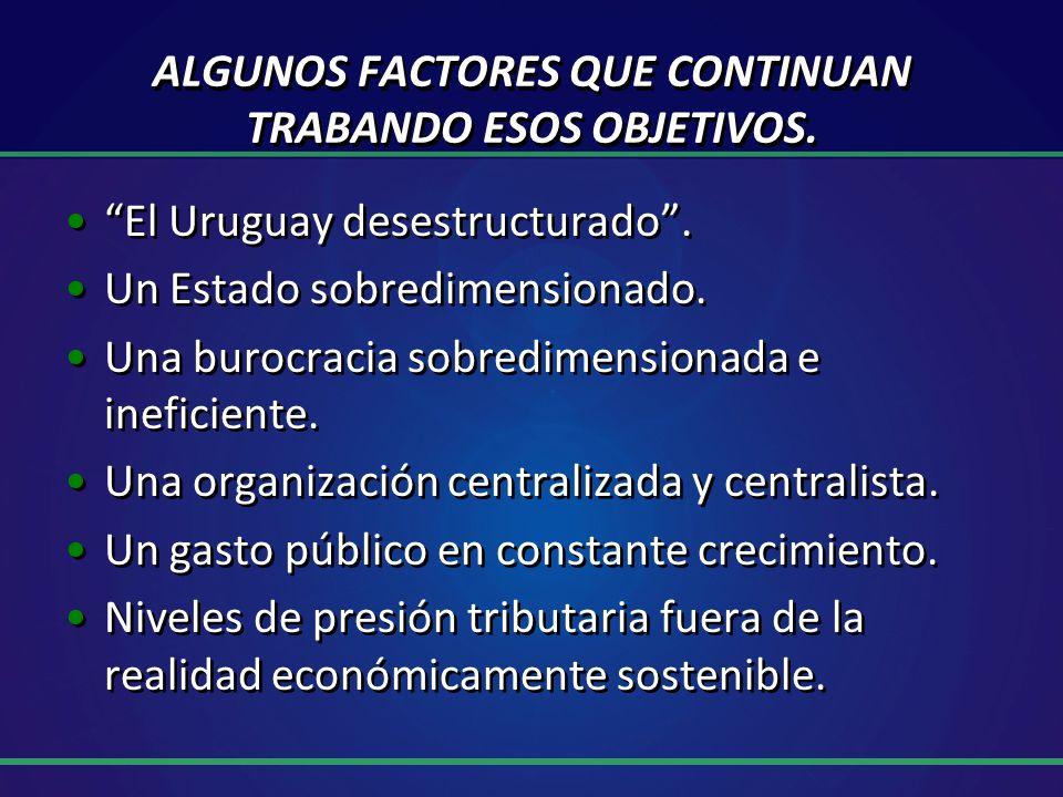 ALGUNOS FACTORES QUE CONTINUAN TRABANDO ESOS OBJETIVOS.