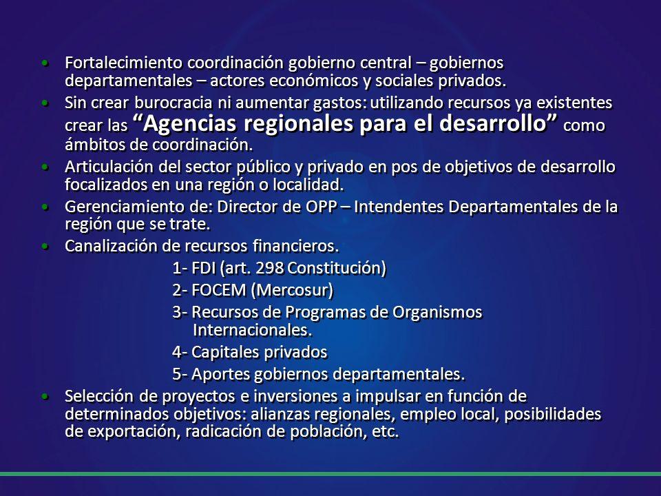 Fortalecimiento coordinación gobierno central – gobiernos departamentales – actores económicos y sociales privados.