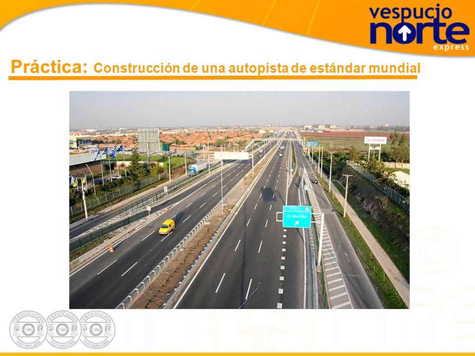 Teoría: El desafío constructivo 1.Inversión de USD250 millones en obras civiles 2.Construcción de 29 kms de autopista 3.3 vías expresas por sentido 4.