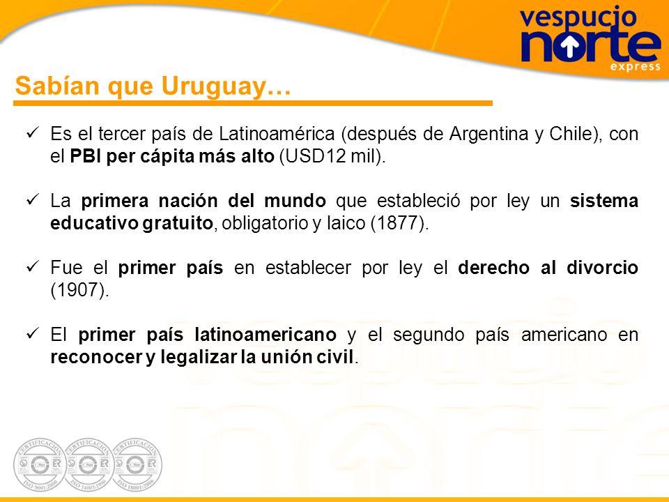 Sabían que Uruguay… Es el tercer país de Latinoamérica (después de Argentina y Chile), con el PBI per cápita más alto (USD12 mil).