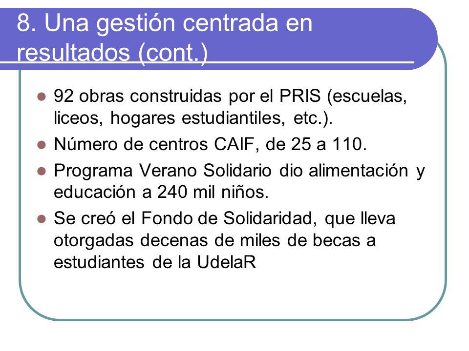 8. Una gestión centrada en resultados (cont.) 92 obras construidas por el PRIS (escuelas, liceos, hogares estudiantiles, etc.). Número de centros CAIF