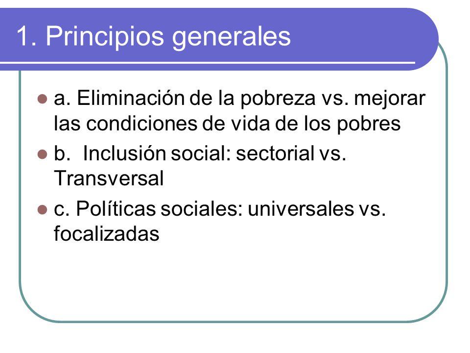 1. Principios generales a. Eliminación de la pobreza vs.