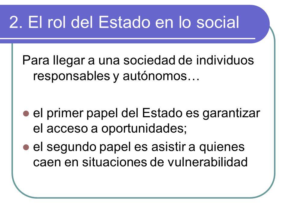 2. El rol del Estado en lo social Para llegar a una sociedad de individuos responsables y autónomos… el primer papel del Estado es garantizar el acces