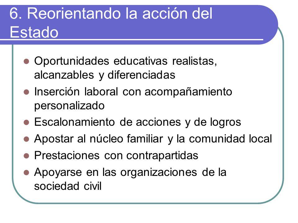 6. Reorientando la acción del Estado Oportunidades educativas realistas, alcanzables y diferenciadas Inserción laboral con acompañamiento personalizad