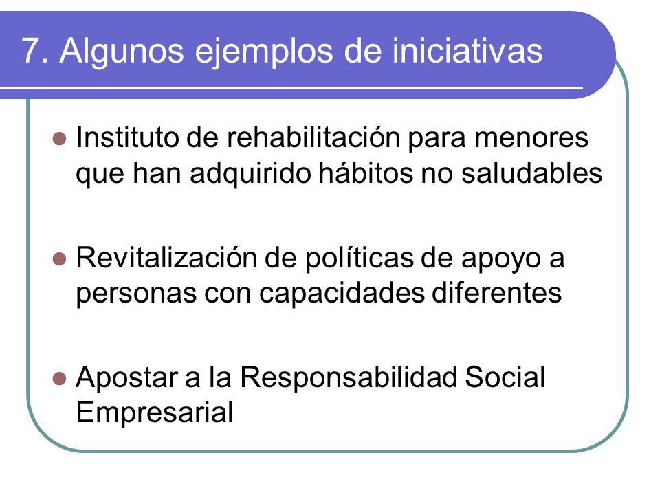 7. Algunos ejemplos de iniciativas Instituto de rehabilitación para menores que han adquirido hábitos no saludables Revitalización de políticas de apo