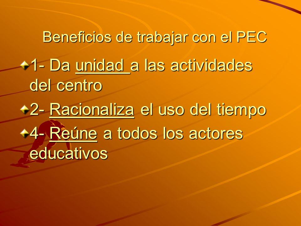 ¿Qué es el PEC ? ¿Qué es el PEC ? -Es una herramienta que permite la participación de todos los actores, con el objetivo de mejorar la acción educativ