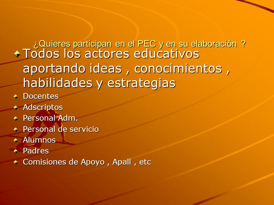 Beneficios de trabajar con el PEC Beneficios de trabajar con el PEC 1- Da unidad a las actividades del centro 2- Racionaliza el uso del tiempo 4- Reúne a todos los actores educativos