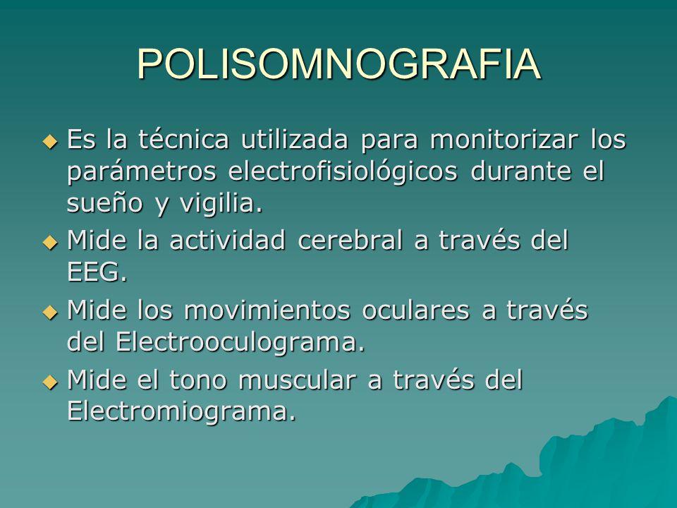 POLISOMNOGRAFIA Es la técnica utilizada para monitorizar los parámetros electrofisiológicos durante el sueño y vigilia. Es la técnica utilizada para m