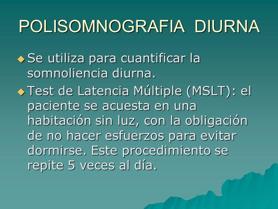 POLISOMNOGRAFIA DIURNA Se utiliza para cuantificar la somnoliencia diurna. Se utiliza para cuantificar la somnoliencia diurna. Test de Latencia Múltip